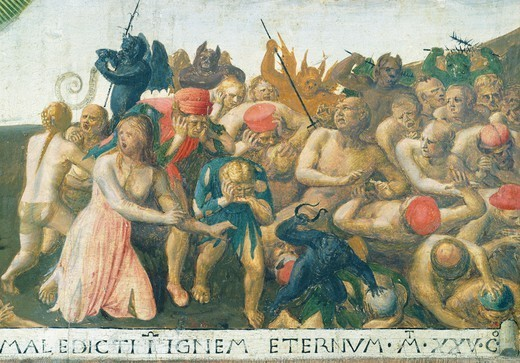 Inset depicting the Last Judgment, panel from the Armadio degli Argenti (Silver Chest) with the life of Jesus, 1451-1453, by Giovanni da Fiesole known as Fra Angelico (1400-ca 1455), tempera on wood. : Stock Photo