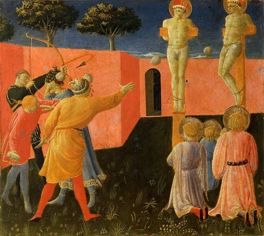 St Cosmas and St Damian crucified and stoned in vain, a panel of the predella from the Altarpiece of Annalena, ca 1430, by Giovanni da Fiesole, known as Fra Angelico (ca 1400- 1455), tempera on wood, 108x202. : Stock Photo
