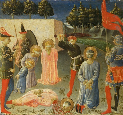 Predella depicting the beheading of St Cosmas and St Damian, Annalena Altarpiece, ca 1430, by Giovanni da Fiesole known as Fra Angelico (1400-ca 1455), tempera on wood, 108x202 cm. : Stock Photo