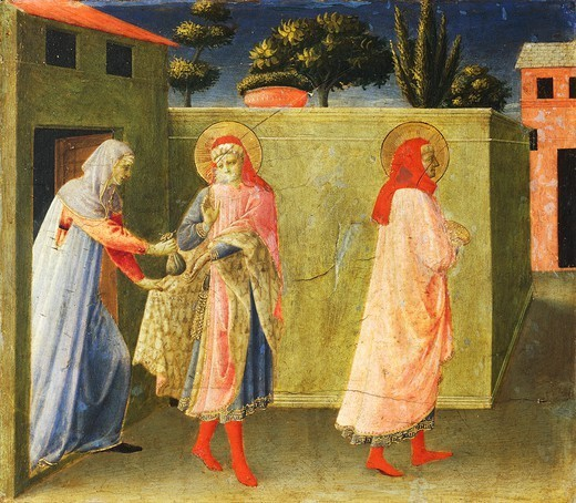 Stock Photo: 1788-45238 San Damiano receiving money, a panel of the predella from the Altarpiece of Annalena, ca 1430, by Giovanni da Fiesole, known as Fra Angelico (ca 1400- 1455), tempera on wood, 108x202.