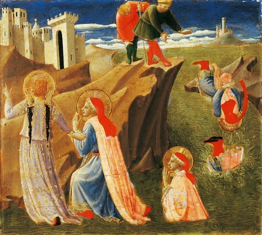 Stock Photo: 1788-45240 Predella depicting St Cosmas and St Damian being saved from drowning, Annalena Altarpiece, ca 1430, by Giovanni da Fiesole known as Fra Angelico (1400-ca 1455), tempera on wood, 108x202 cm.