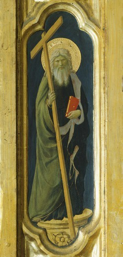 Stock Photo: 1788-45247 Lateral pillar with the figure of a saint, detail from The Deposition from the Cross or the Altarpiece of the Holy Trinity, ca 1432, by Giovanni da Fiesole known as Fra Angelico (1400-ca 1455), tempera on wood, 176x185 cm.