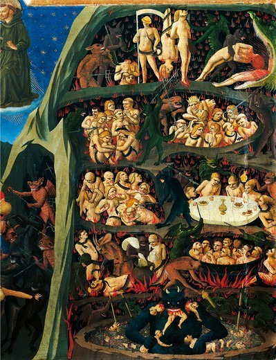 The Last Judgement, 1431, by Giovanni da Fiesole,  known as Fra Angelico (ca 1400-1455), tempera on wood, 105x210 cm. Detail. : Stock Photo