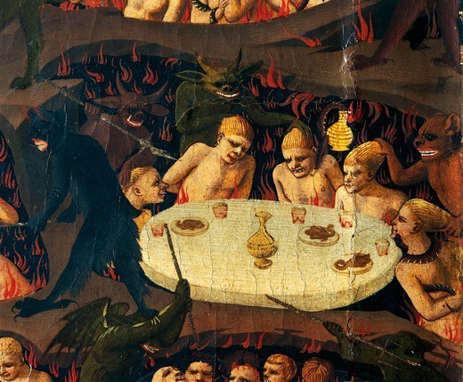 The Last Judgement, 1431, by Giovanni da Fiesole known as Fra Angelico (1400-ca 1455), tempera on wood, 105x210 cm. Detail. : Stock Photo