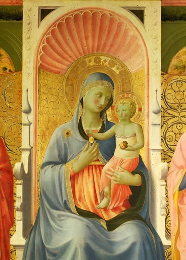 Stock Photo: 1788-45257 Madonna anc child, detail from Annalena Altarpiece, ca 1430, by Giovanni da Fiesole known as Fra Angelico (1400-ca 1455), tempera on wood, 108x202 cm.