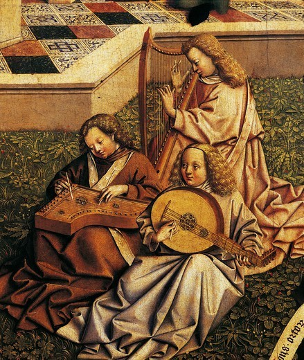 Angel musicians, detail from the Source of grace, from the School of Jan Van Eyck, 15th Century. : Stock Photo