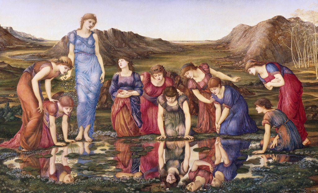 Stock Photo: 1788-45299 The Mirror of Venus, by Edward Burne-Jones (1833-1898).