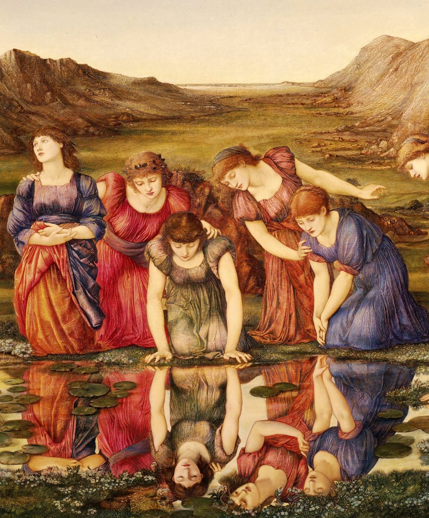 The Mirror of Venus, by Edward Burne-Jones (1833-1898), detail. : Stock Photo