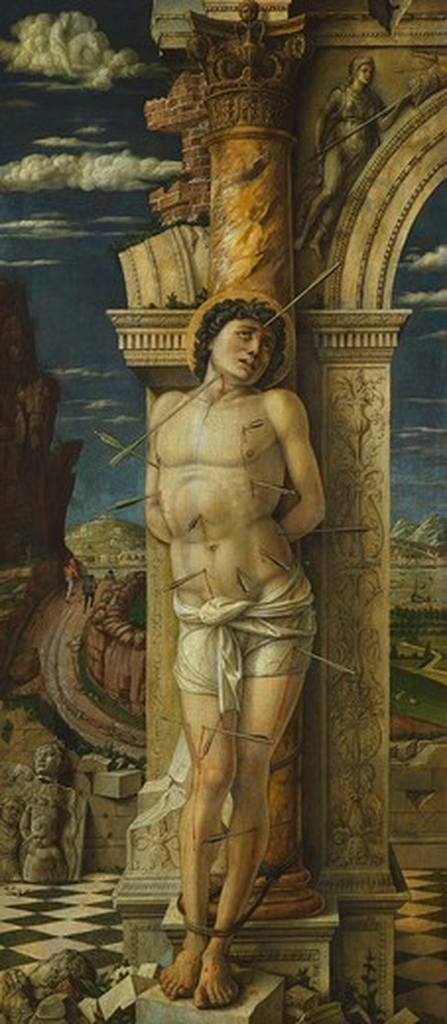 Stock Photo: 1788-45339 Saint Sebastian, 1470-1475, by Andrea Mantegna (1431-1506), tempera on wood, 68x30 cm.