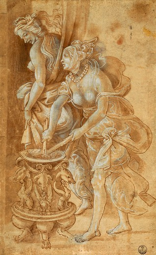 Stock Photo: 1788-45365 Two female figures, by Filippino Lippi (1457-ca 1504), drawing.