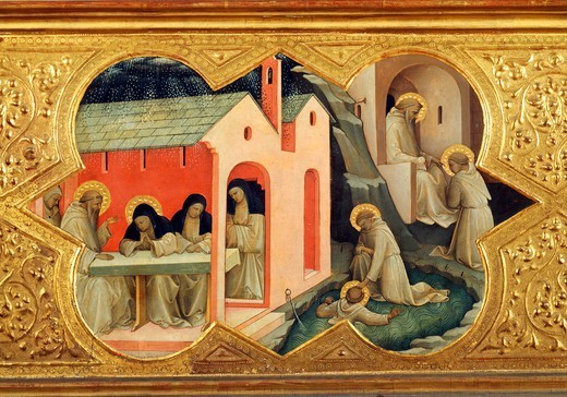 Stock Photo: 1788-45370 St Bernardino entrusting the rule to St Benedict and pushing him into the water, then entering a convent of nuns and teaching, detail of the predella of the Coronation of the Virgin, 1414, by Lorenzo Monaco (ca 1370-1425), tempera on panel, 450x350 cm. Polyptych for the high altar of the Camaldolese monastery of Santa Maria degli Angeli (St Mary of the Angels), Florence.
