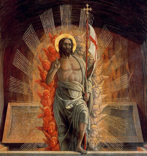 The resurrection, 1457-1459, by Andrea Mantegna (1431-1506), tempera on wood, 70x92 cm. Detail depicting Christ : Stock Photo