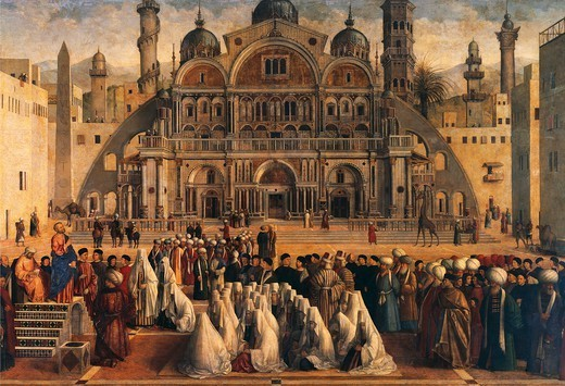 St Mark Preaching in Alexandria, Egypt, 1504-1507, by Gentile Bellini (1429-1507) and Giovanni Bellini (1430-ca 1516), oil on canvas, 347x770 cm. Detail. : Stock Photo