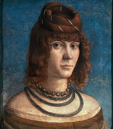 Stock Photo: 1788-45380 Portrait of a Courtesan, by Vittore Carpaccio (ca 1465-1525 or 1526).