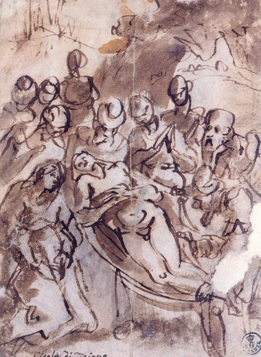 Stock Photo: 1788-45382 The deposition, by Titian (ca 1490-1576), drawing.