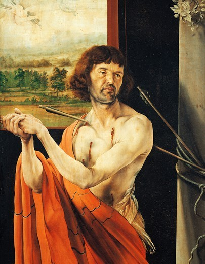 Stock Photo: 1788-45395 Saint Sebastian, detail from the Isenheim Altarpiece, ca 1515, by Mathias Grunewald (1475-1528), oil on panel.