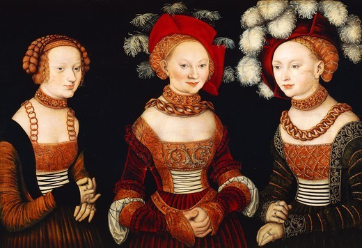 The three princesses of Saxony: Sibylla, Emilia and Sidonia, 1535, by Lucas Cranach the Elder (1472-1553), oil on panel, 62x89 cm. : Stock Photo