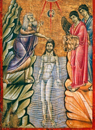 Baptism of Christ, by Umbrian-Tuscan Master, late 1200. : Stock Photo