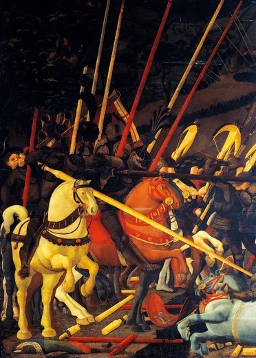 Stock Photo: 1788-45445 Bernardino della Ciarda unhorsed, detail from The Battle of San Romano, by Paolo Uccello (1397-1475), tempera on wood.