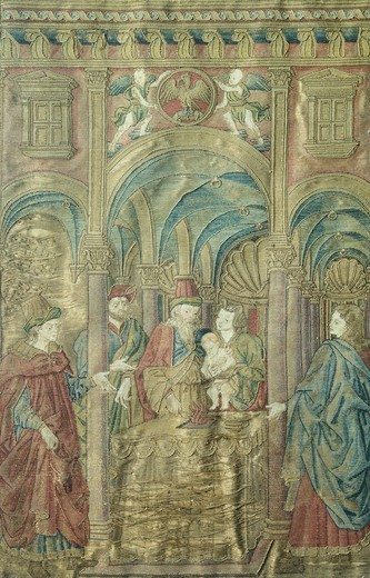 Circumcision of St John the Baptist, by Antonio del Pollaiuolo (ca 1431-1498), embroidered vestments. : Stock Photo