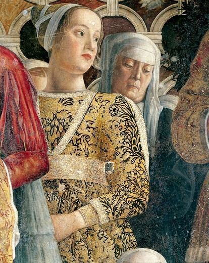 Stock Photo: 1788-45456 Barbarina Gonzaga, detail from the Court Wall, 1465-1474, by Andrea Mantegna (1431-1606), fresco. San Giorgio Castle, Wedding Chamber or Camera Picta, Mantua.