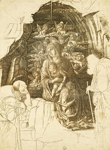 Stock Photo: 1788-45457 Study for the Adoration of the Magi by Andrea Mantegna (1431-1506), drawing.