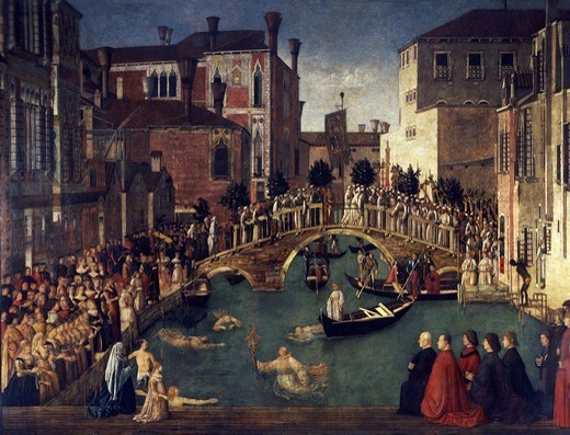 Stock Photo: 1788-45459 Miracle of the Cross at the Bridge of San Lorenzo, ca 1500, by Gentile Bellini (1429-1507), tempera on wood, 323x430 cm.
