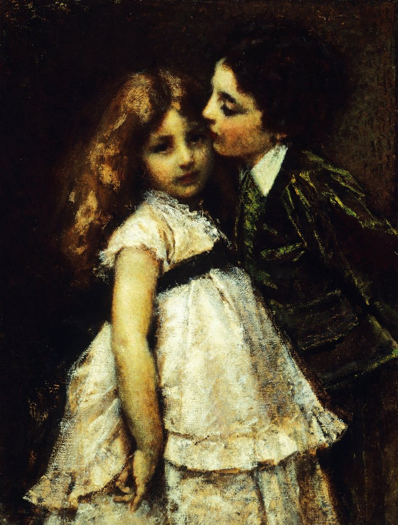 Stock Photo: 1788-45471 Two cousins, 1870, by Tranquillo Cremona (1837-1878), oil on canvas, 86x65 cm.