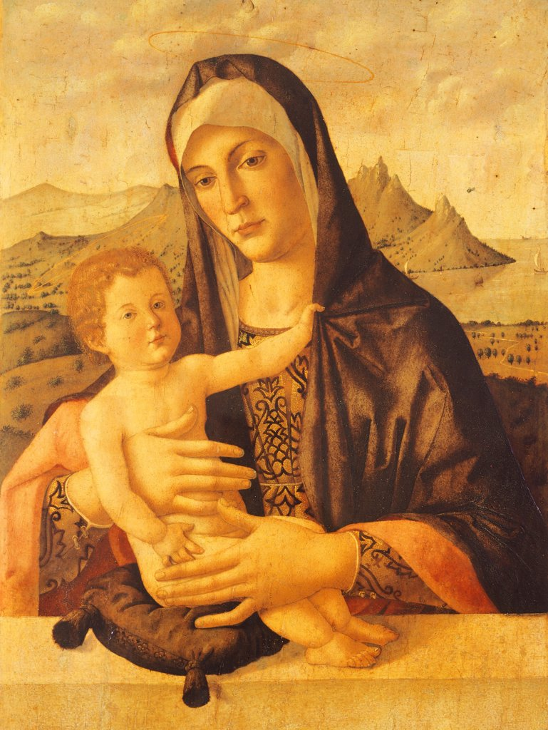 Madonna and Child seated, by Bartolomeo Montagna (ca 1450-1523). : Stock Photo
