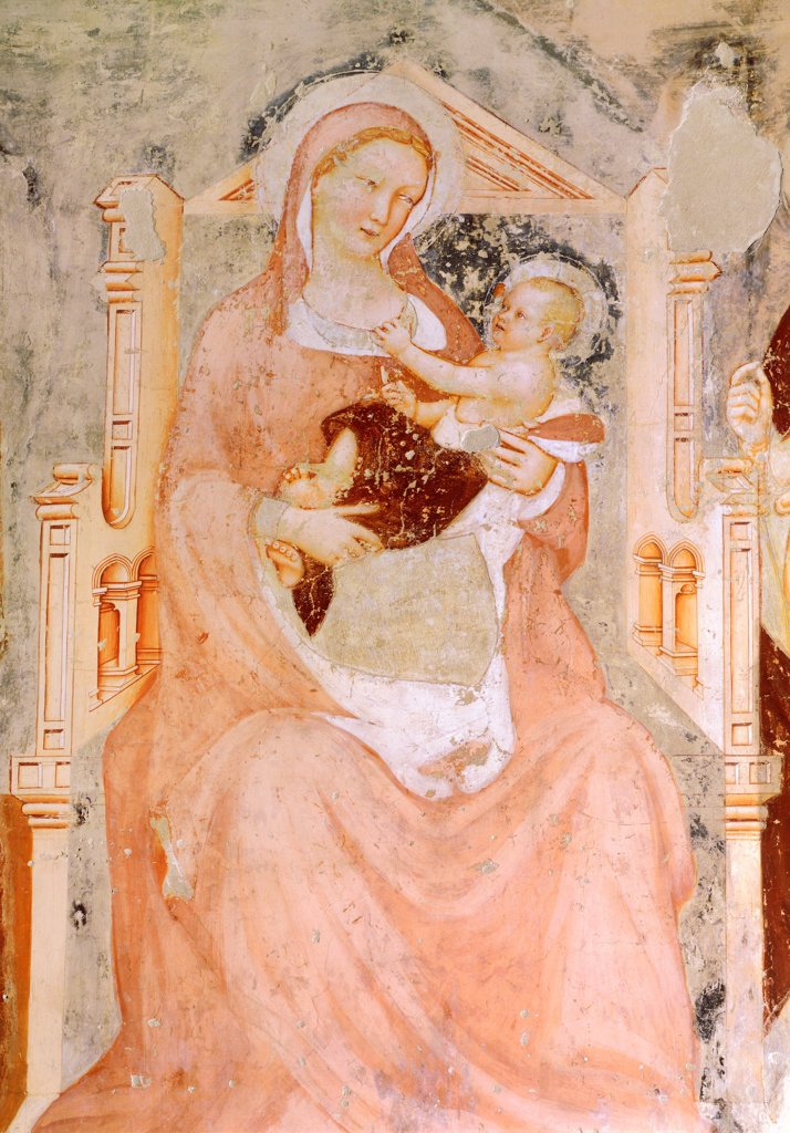 Madonna and child, by Tommaso da Modena (1326-1379), fresco. Church of San Francesco, Treviso. : Stock Photo