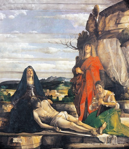 Deposition of Christ with the Virgin Mary, St John and St Mary Magdalene, 1490-1495, by Giovanni Buonconsiglio (ca 1465-1535 or 1537), tempera on panel, 160x180 cm. : Stock Photo