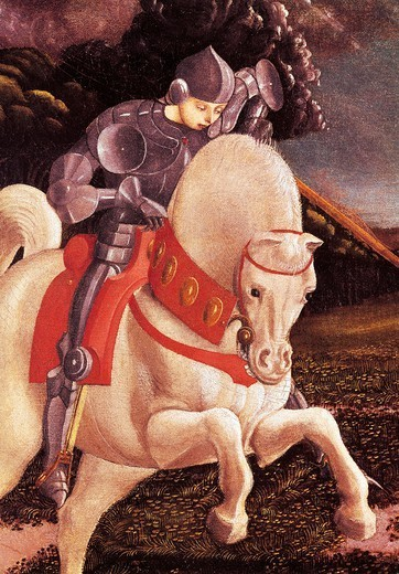Stock Photo: 1788-45536 St George and his horse, detail from St George and the Dragon, by Paolo Uccello (1397-1475), oil on canvas.