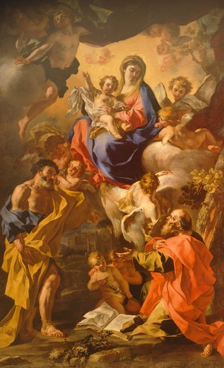 Stock Photo: 1788-45547 Madonna and Child between St Peter and St Paul, by Francesco Solimena (1657-1747). Church of St Nicholas of Charity, Naples.