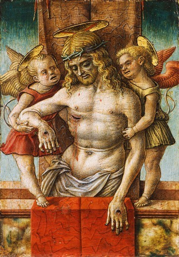 Stock Photo: 1788-45574 The Dead Christ supported by Two Angels, by Carlo Crivelli (ca 1430- ca 1495), tempera on wood, 17x12 cm.