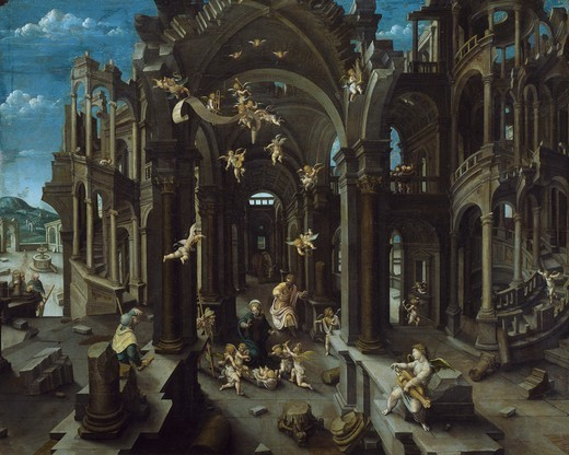 Adoration of the shepherds, ca 1525, by Jean de Gourmont the Elder (died after 1557), oil on panel, 94x116 cm. : Stock Photo
