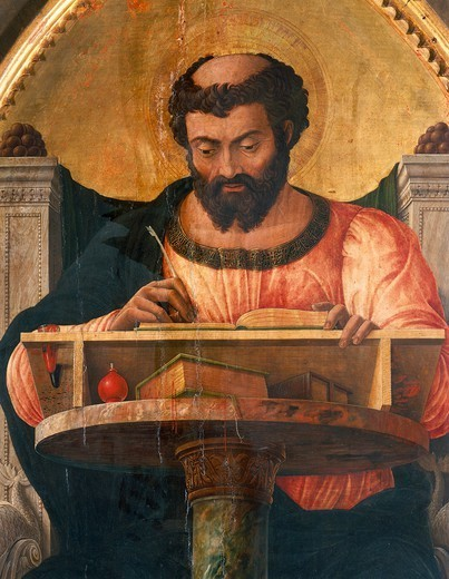 St Luke at his desk, detail from the altarpiece of St Luke, 1453-1454, by Andrea Mantegna (1431-1506), tempera on wood, 177x230 cm. : Stock Photo