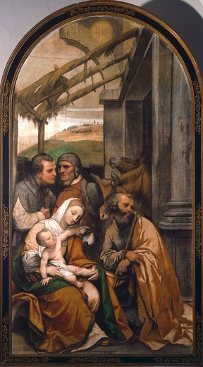 Stock Photo: 1788-45602 Nativity or Adoration of the Shepherds, 1525-1549, by Moretto da Brescia (1498-1554), tempera on canvas, 153x273 cm.