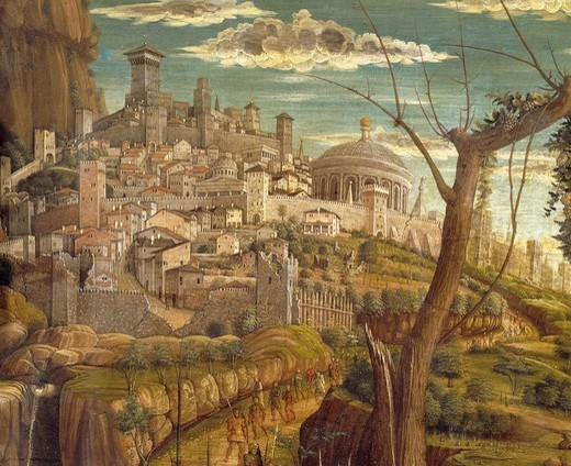 Stock Photo: 1788-45611 Agony in the Garden, 1457-1459, by Andrea Mantegna (1431-1506), tempera on wood, 71x94 cm. Detail view of Jerusalem.