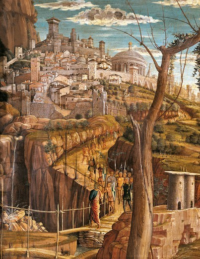 Stock Photo: 1788-45612 Agony in the Garden, 1457-1459, by Andrea Mantegna (1431-1506), tempera on wood, 71x94 cm. Detail view of Jerusalem.