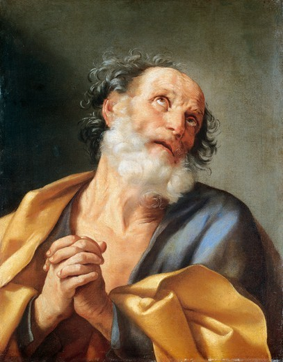 St Peter weeping, by Guido Reni (1575-1642). : Stock Photo