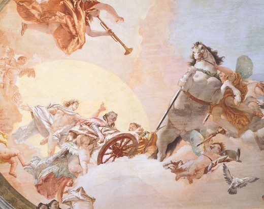 Stock Photo: 1788-45643 Wedding Allegory, by Giambattista Tiepolo (1696-1770), fresco. Detail. Ceiling of the Nuptial Allegory Room , Ca' Rezzonico (Rezzonico Palace), Venice.