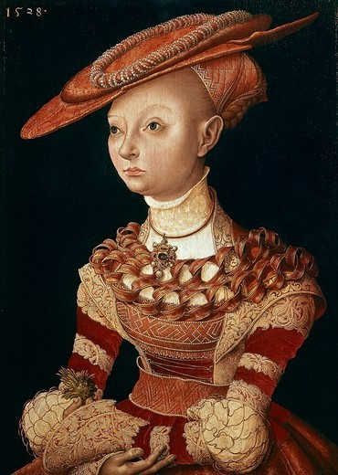 Portrait of a Lady, 1538, by Lucas Cranach the Elder (1472-1553). : Stock Photo