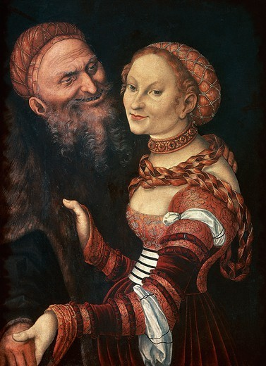 Stock Photo: 1788-45649 The courtesan and the old man, by Lucas Cranach the Elder (1472-1553).
