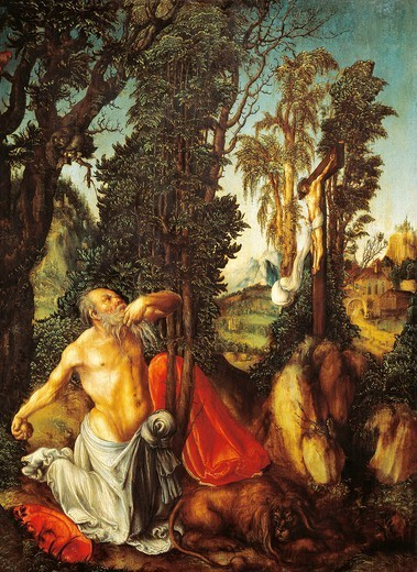 The penitence of Saint Jerome, 1502, by Lucas Cranach the Elder (1472-1553), oil on panle, 55.5x41.5 cm. : Stock Photo