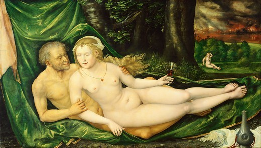 Stock Photo: 1788-45652 The old man and the young woman, by Lucas Cranach the Elder (1472-1553).