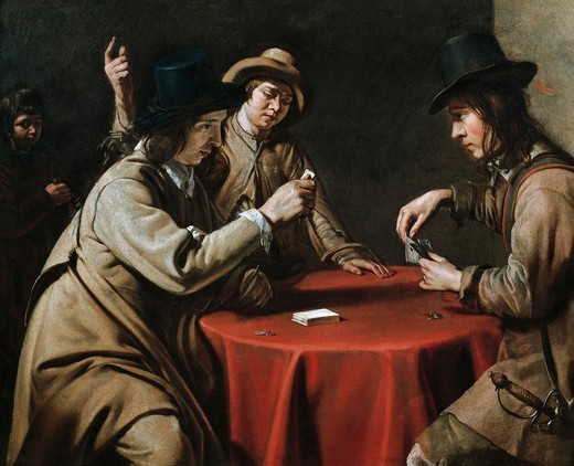 The cheaters, by Mathieu Le Nain (1607-1677). : Stock Photo