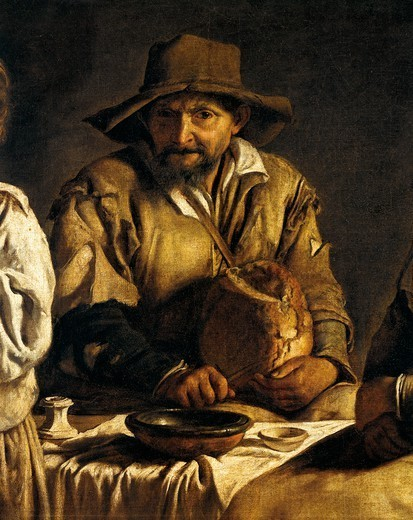 Peasant family in an interior, by Louis Le Nain (1593-1648). Detail. : Stock Photo