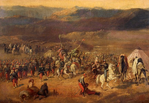 Stock Photo: 1788-45699 The Taking of Smalah d'Abd-el-Kader, by Horace Vernet (1789-1863).