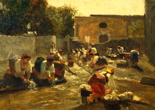 Stock Photo: 1788-45706 Women washing in the river, by Filippo Palizzi (1818-1899).