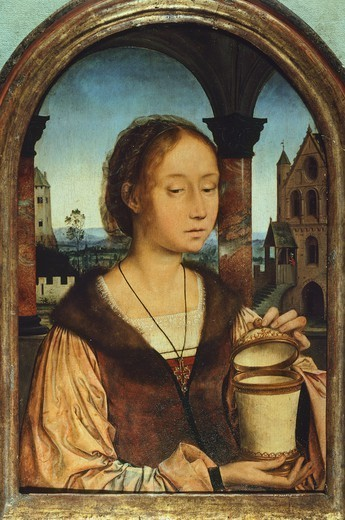 Stock Photo: 1788-45732 Mary Magdalene, by Quinten Metsys (1466-1530), oil on panel, 45x29 cm.